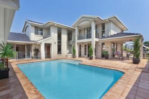 beautiful backyard with pooloutside of modern mansion