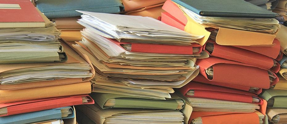 Stacks of paper files