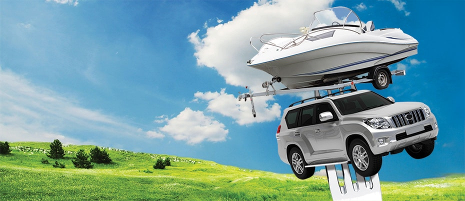 Boat and SUV on a fork graphic