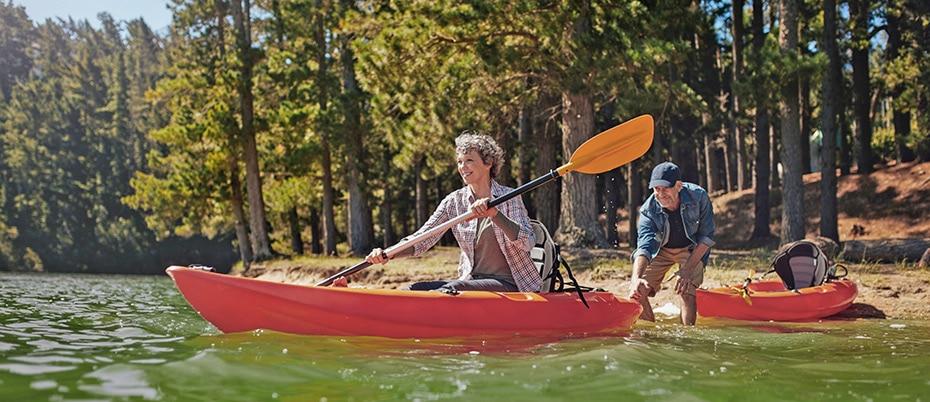 Retired couple kayaking