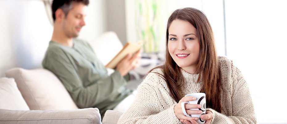 Relaxed couple in living room