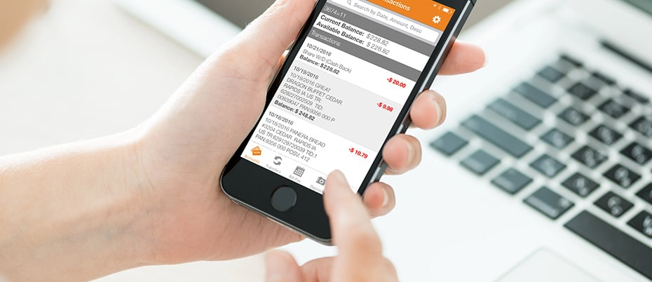 Close-up checking balances on mobile phone