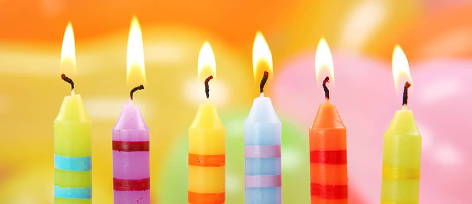 close-up of birthday candles