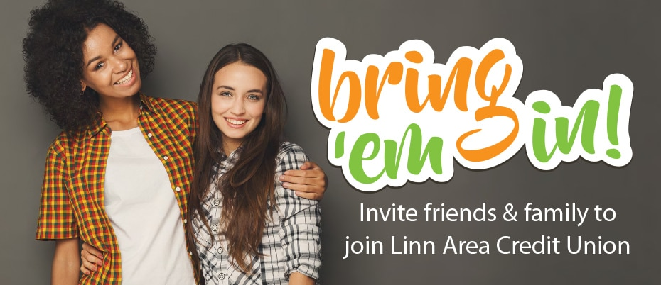 Two woman standing in a friendly embrace with the Bring em in logo