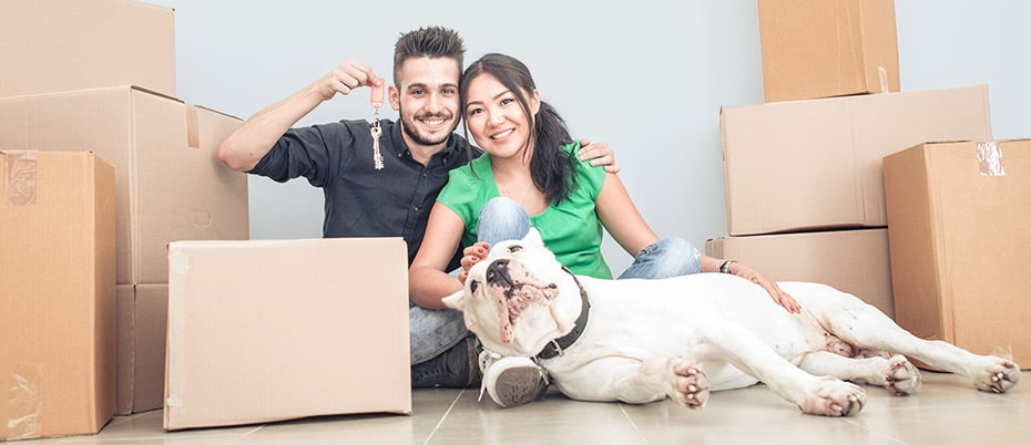Couple moving into first home with dog