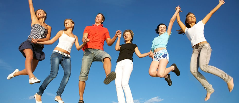 Millennials jumping for joy