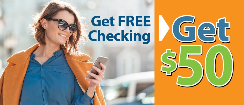 Woman in orange coat looking at mobile phone with Get free checking, get $50 text