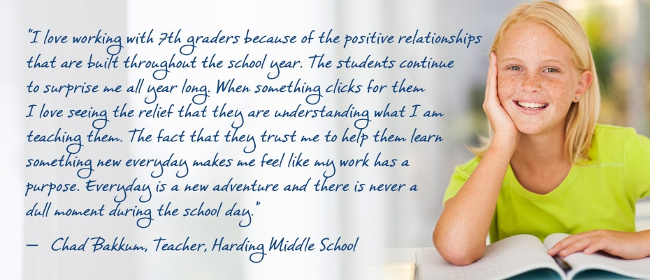 Student with teacher quote