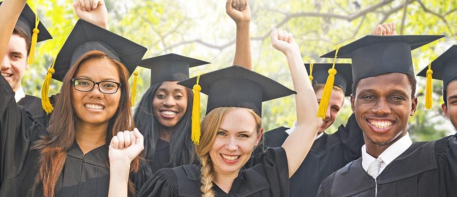 Happy high school graduates
