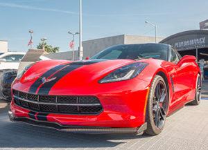 Shiny new Corvette on sales lot