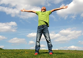 Man welcomes with arms wide open
