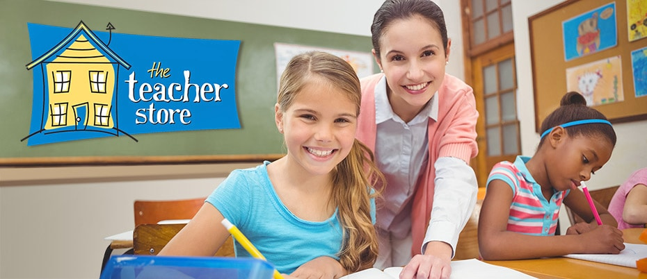 Teacher and student smile in classroom