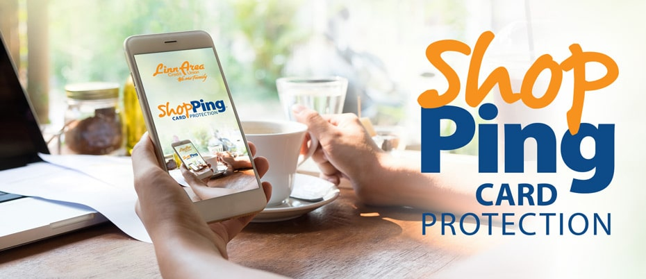 ShopPing logo on mobile device at coffee shop