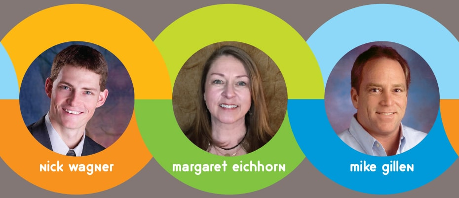 Circular photos of Nick Wagner, Margaret Eichhorn and Mike Gillen