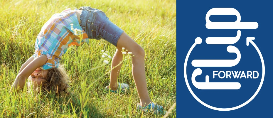 Girl doing backbend on grass with visual element: Flip Forward