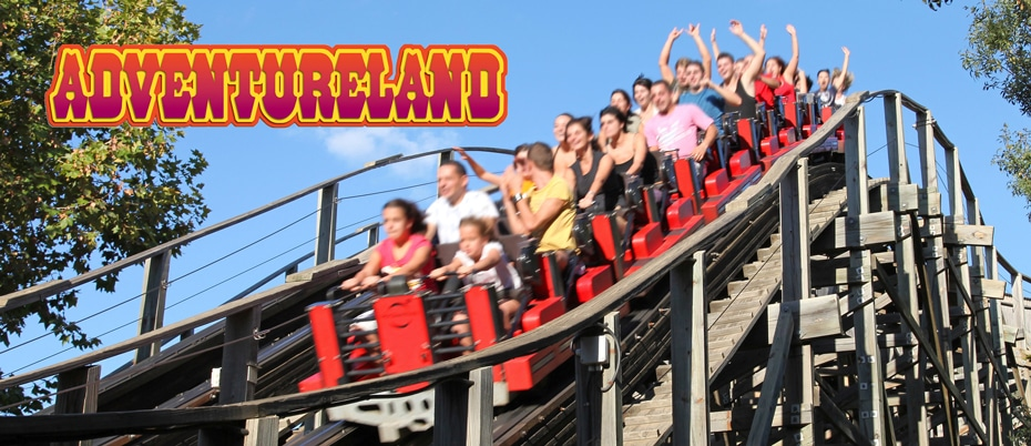 People on rollercoaster with Adventureland text