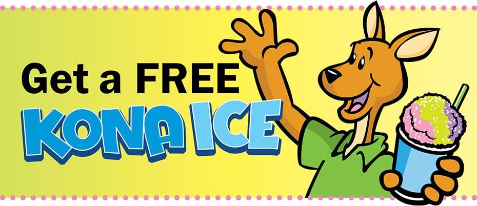 Cartoon Kirby Kangaroo holding a Kona Ice with text: Get a FREE Kona Ice