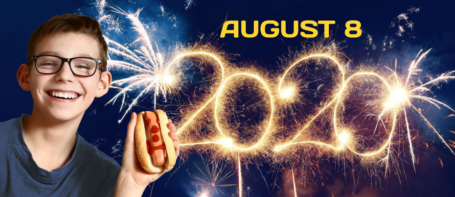 Boy holding hot dog in front of fireworks display