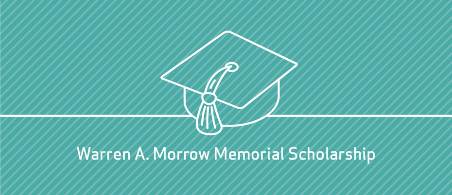 Scholarship graphic: Graduation cap on a striped blue background