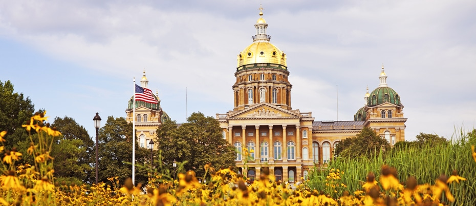 Iowa state capitol building with yellow flowers in foreground