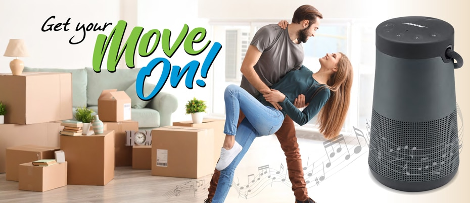 Happy man and woman dancing to the sounds of a Bose speaker with Get your Move On text