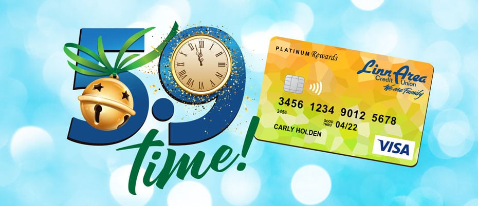 Credit card with 5.9 Time graphic