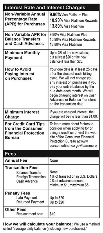Credit card disclosure 2018