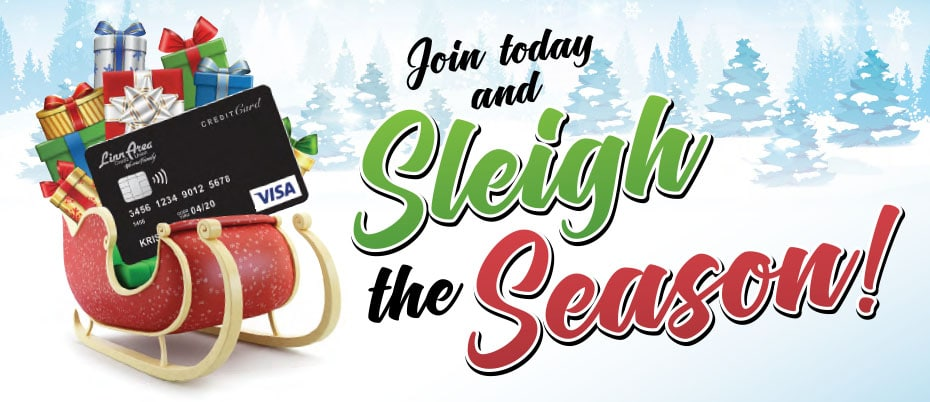 Red sleigh carrying wrapped gifts and oversized credit card on a snowy, tree-lined background with text: Join today and Sleigh the Season