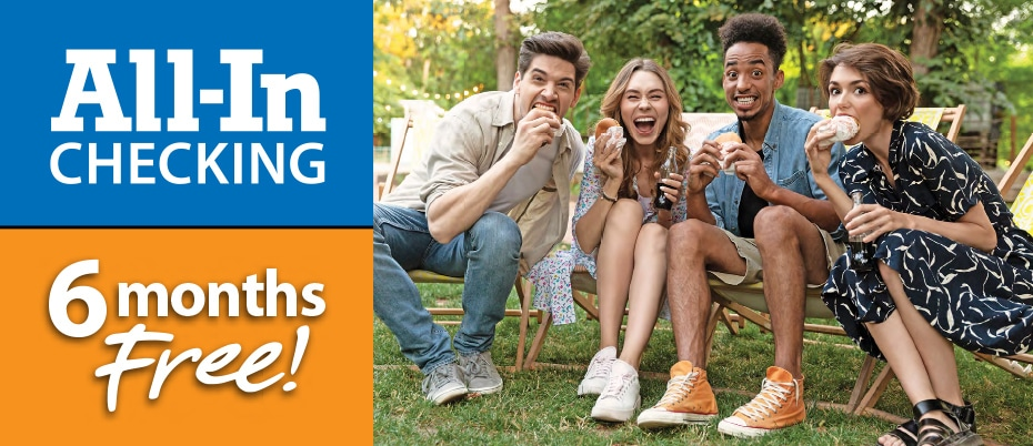 Four friends enjoying a picnic with text: All-In checking 6 months free