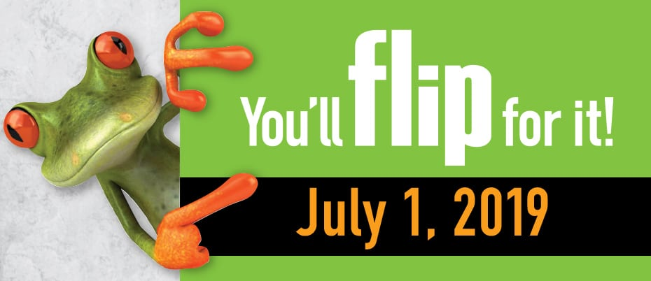 Frog with text: You'll flip for it. July 1, 2019