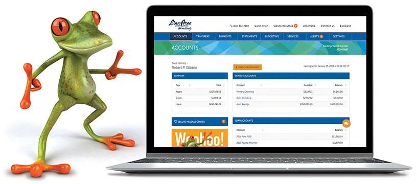 Frog holding laptop displaying online banking site