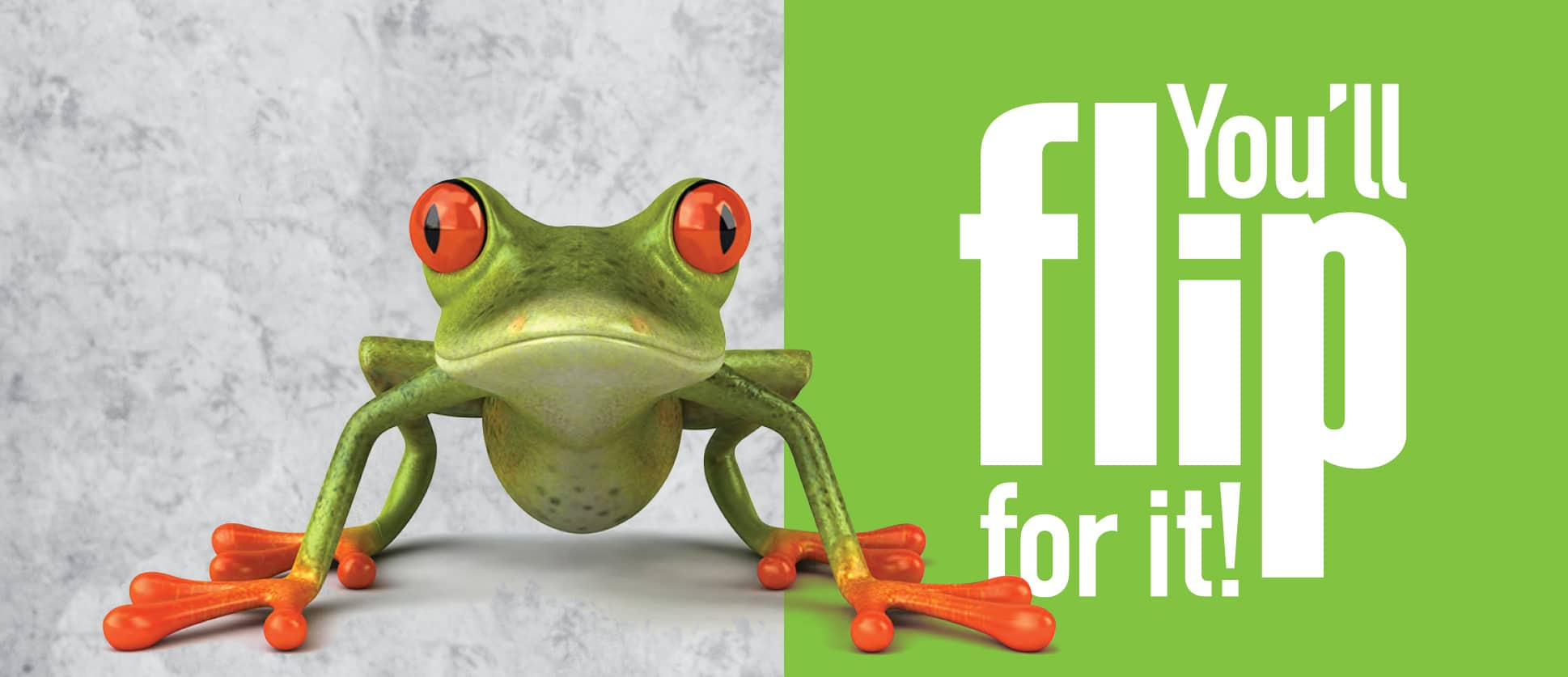 Frog with text: You'll flip for it!