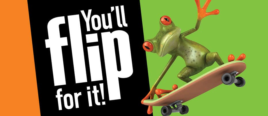 Frog on skateboard with text: You'll flip for it!