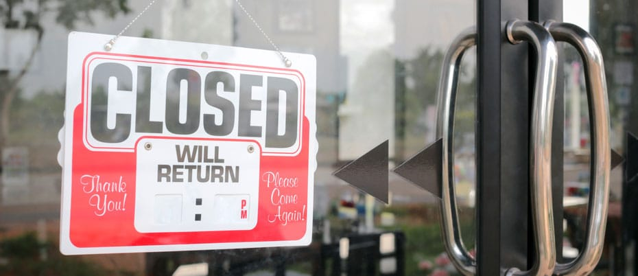 Storefront with Closed-Will Return sign