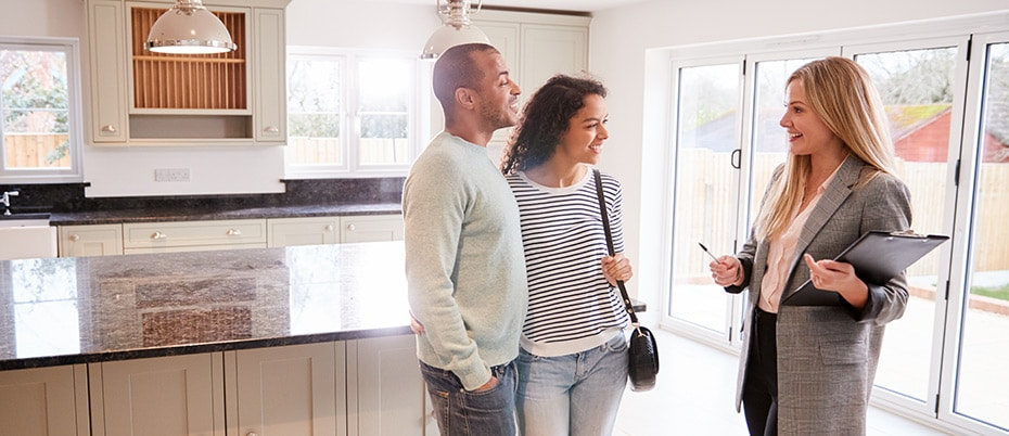 Couple discussing mortgage loan types